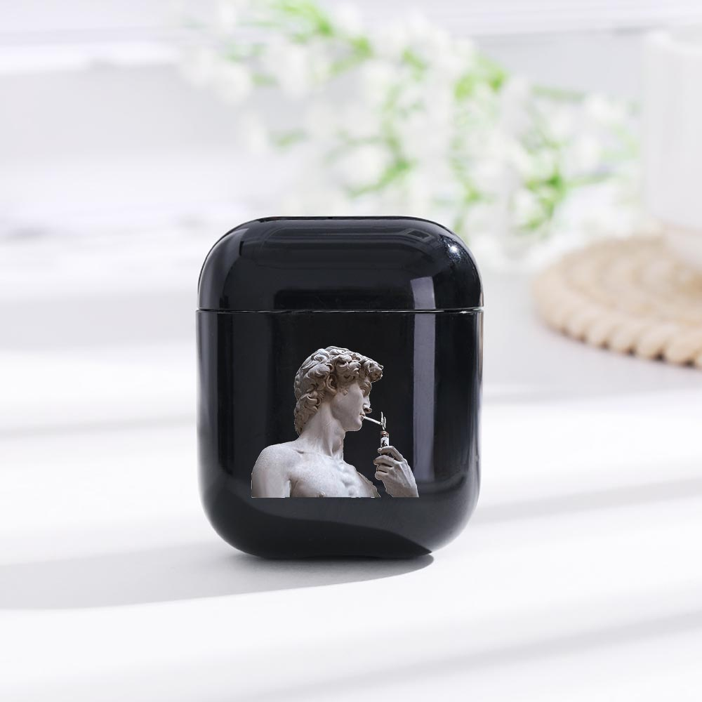 LAUGH LIFE Black David Statue Luxury Earphone Case For Airpods Case Black Art Style Earphone Cases Cover For Airpods Accessories in Earphone Accessories from Consumer Electronics