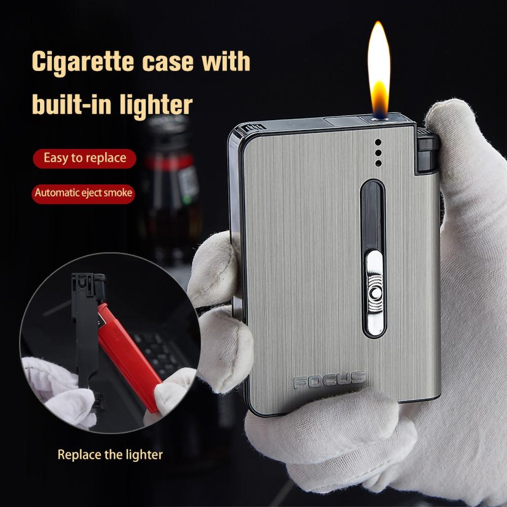 Металлический футляр для сигарет FOCUS, тонкая газовая зажигалка, 6 шт., 80 мм, емкость для сигарет, контейнер для хранения с держателем для мужчи...