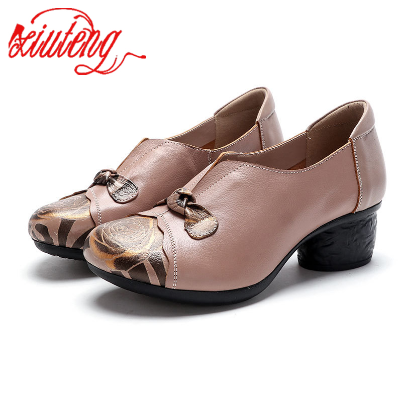 Xiuteng Mon Style Plus Size 41 Chunky Heels Mature Office Lady Genuine Leather Women's Shoes 2020 Brand New Women's Pumps