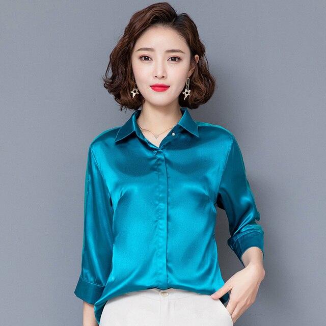 Basic women satin shirt blouse mesh sleeves lapel silk shirt women tops fashion bright color office ladies work shirt female