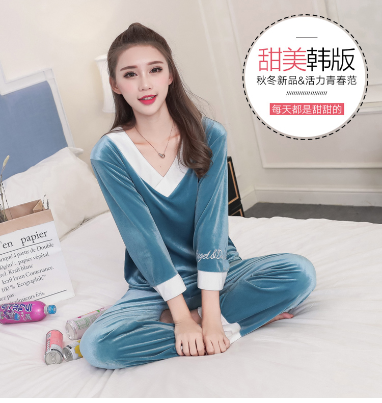 Girls Gold Velvet Pajamas Sets Women Autumn Winter Long Sleeve V-Neck Velour Pyjama Suit Warm Sleepwear Homewear Home Clothes 63
