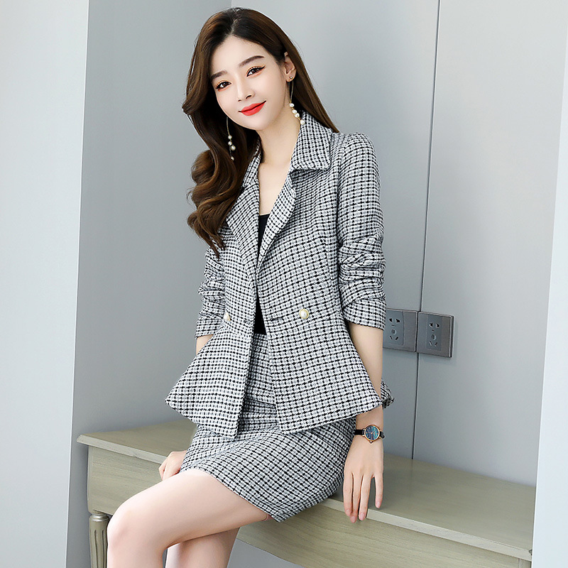 High quality professional office female suit skirt two-piece 2020 new autumn and winter slim plaid ladies jacket Casual skirt