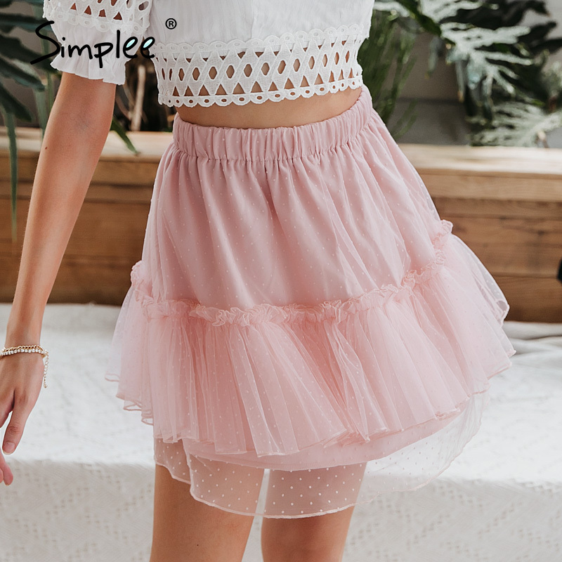 Simplee  Fashion Polka Dot Women Mini Skirt  Sexy Lace Short  Female Skirt  Spring Summer Holiday Ladies Skirts 2020