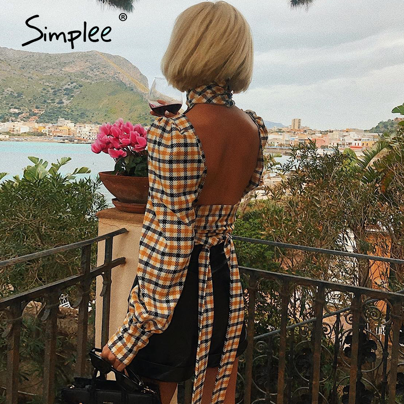 Simplee Vintage Plaid Hollow Out Long Sleeve Blouse Shirt Women Blackless Korean Lace Up Belt Blouse Female Fashion Ladies Tops