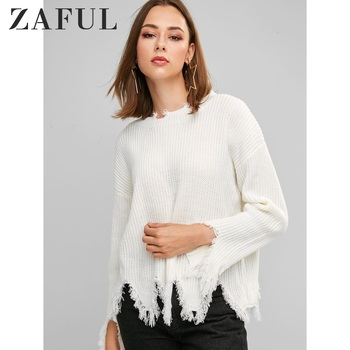 ZAFUL Sharkbite Trim Frayed Drop Shoulder Sweater One Size Round Neck Solid Pullovers 2019 Elastic Casual Frayed Women Sweater фото