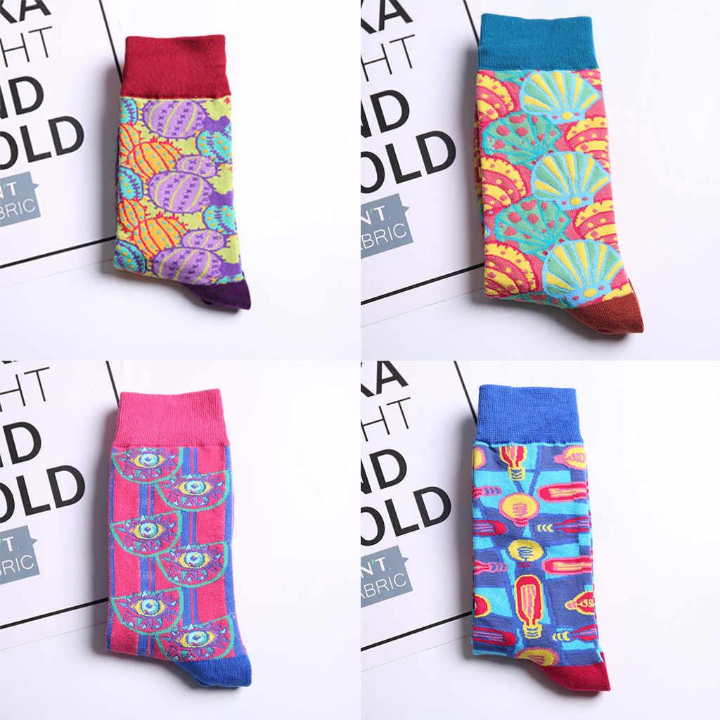 ถุงเท้า Unisex ฤดูใบไม้ร่วงและฤดูหนาวแนวโน้มความคิดสร้างสรรค์รูปแบบหลอดผ้าฝ้าย casual ถุงเท้าคู่ Harajuku สไตล์แฟชั่นถุงเท้า