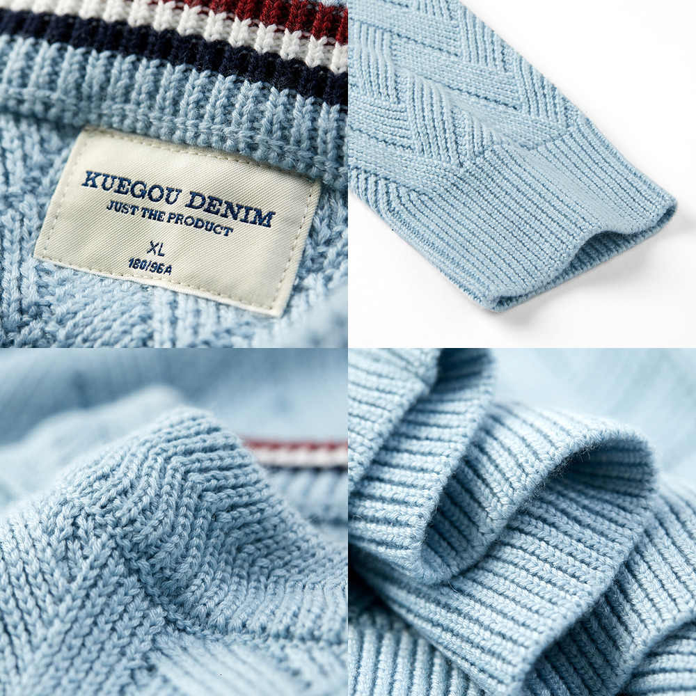 KUEGOU 2019 가을 울 솔리드 블루 스웨터 남성 풀오버 캐주얼 점퍼 남성 슬림 맞는 브랜드 니트 한국 스타일 옷 19015