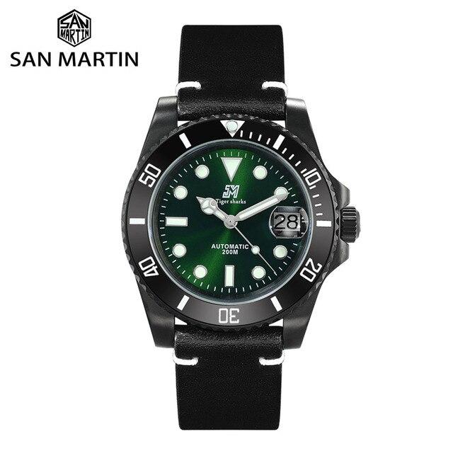 San Martin Diverนาฬิกาขัดสแตนเลสเซรามิคผู้ชายนาฬิกาSapphireสายหนังกันน้ำ