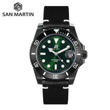 San Martin Diver Watches Scrub Stainless Steel Ceramic Bezel Mens Mechanical Watch Sapphire Leather Strap Luminous Waterproof
