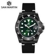 San martin diver relógios, relógio masculino de aço inoxidável com moldura de cerâmica, pulseira de couro de safira, luminoso, à prova d água