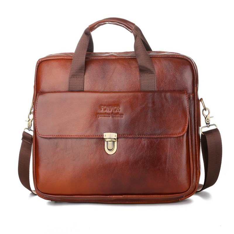 Genuine Leather Men's Briefcase Vintage Business Computer Bags Fashion Shoulder Messenger Bag Zipper Buckle Postman Handbags