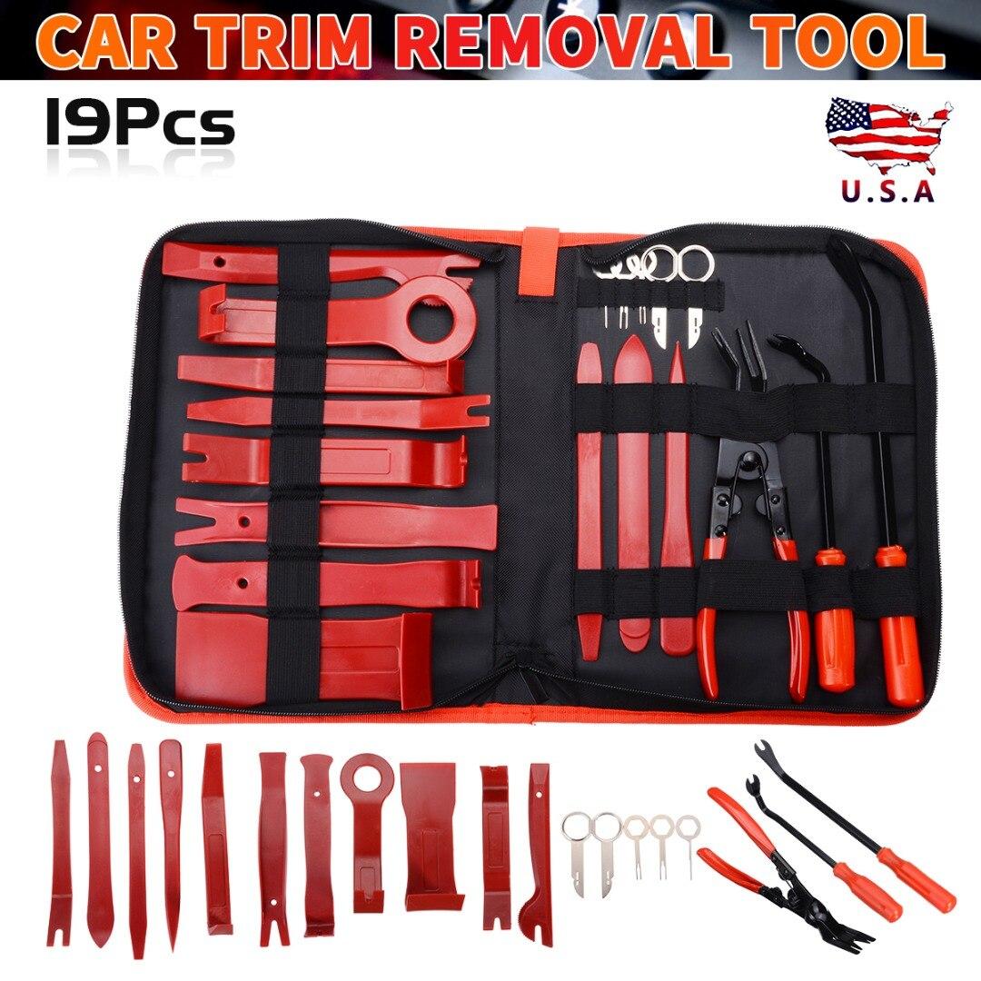Profession 19Pcs Car Audio Maintenance Kit Trim Stereo Repair Panel Remover Pry Bar Car Dash Radio Trim Panel Door Clip Tool Set