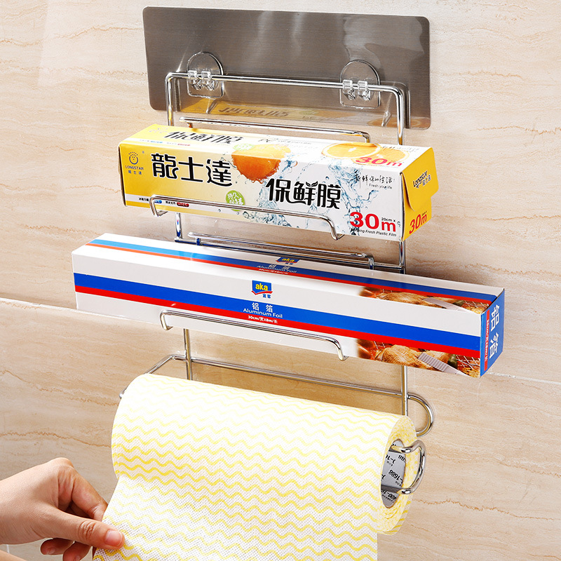 Shuangqing Hole Punched Roll Stand Plastic Wrap Storage Rack Kitchen Freshness Protection Package Film Storage Rack 5005