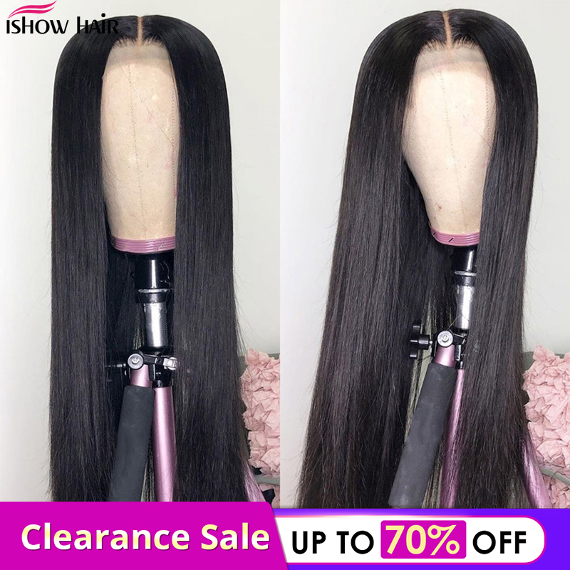 Ishow Hair Indian Wig 4*4 Straight Lace Closure Human Hair Wigs For Black Women Remy 8-26 Inch Lace Front Wigs Pre Plucked