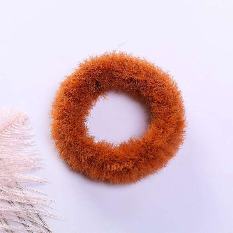 Новые зимние теплые мягкие резинки из кроличьего меха для женщин и девушек, эластичные резинки для волос, плюшевая повязка для волос, резинки, аксессуары для волос - Цвет: 63