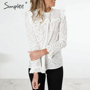 Image 3 - Simplee Women sweet hollow out ruffled shirts See through long sleeve Pleated blouse ladies spring cute white tops blusas 2020