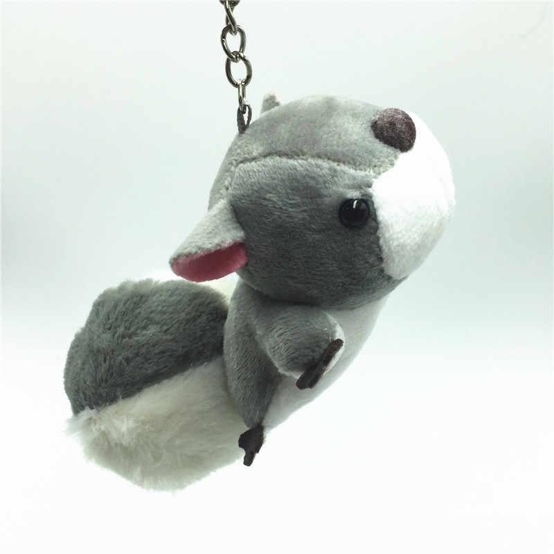 Esquilo bonito Keychian Saco do Anel Chave Acessórios De Pele Animal de Pelúcia Macia Brinquedos Para Crianças