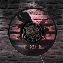 Reloj decorativo de pared con retroiluminación Vintage de vinilo con reloj de pared para perros militares y policías K9, regalo Arte de la pared Decoración para niños