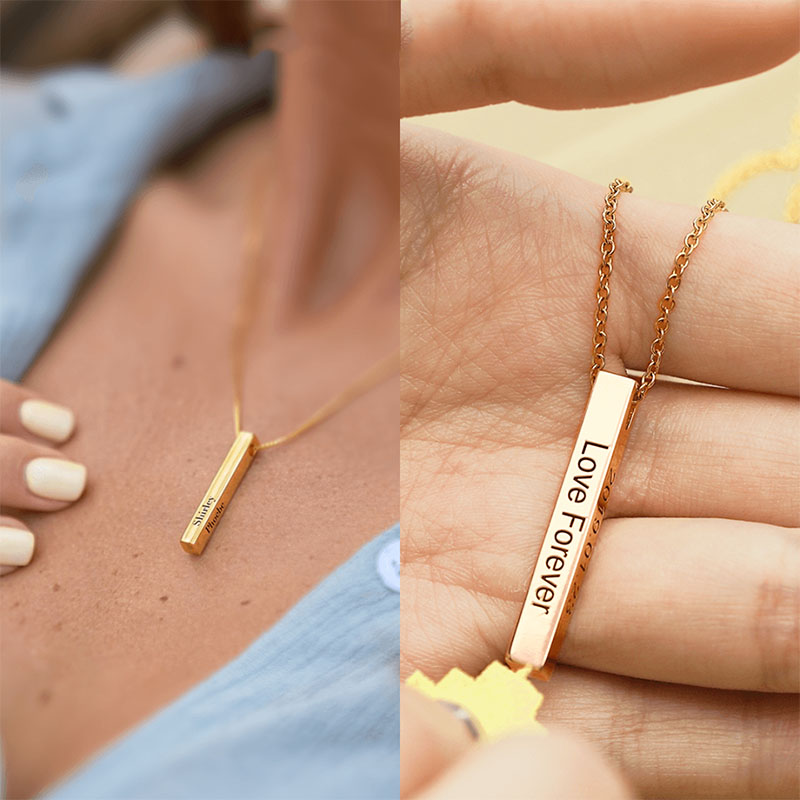 Custom Personalized Vertical Gold Bar Necklace Engraved Date Name Pendant Necklace Women Wedding Jewelry Anniversary Gift