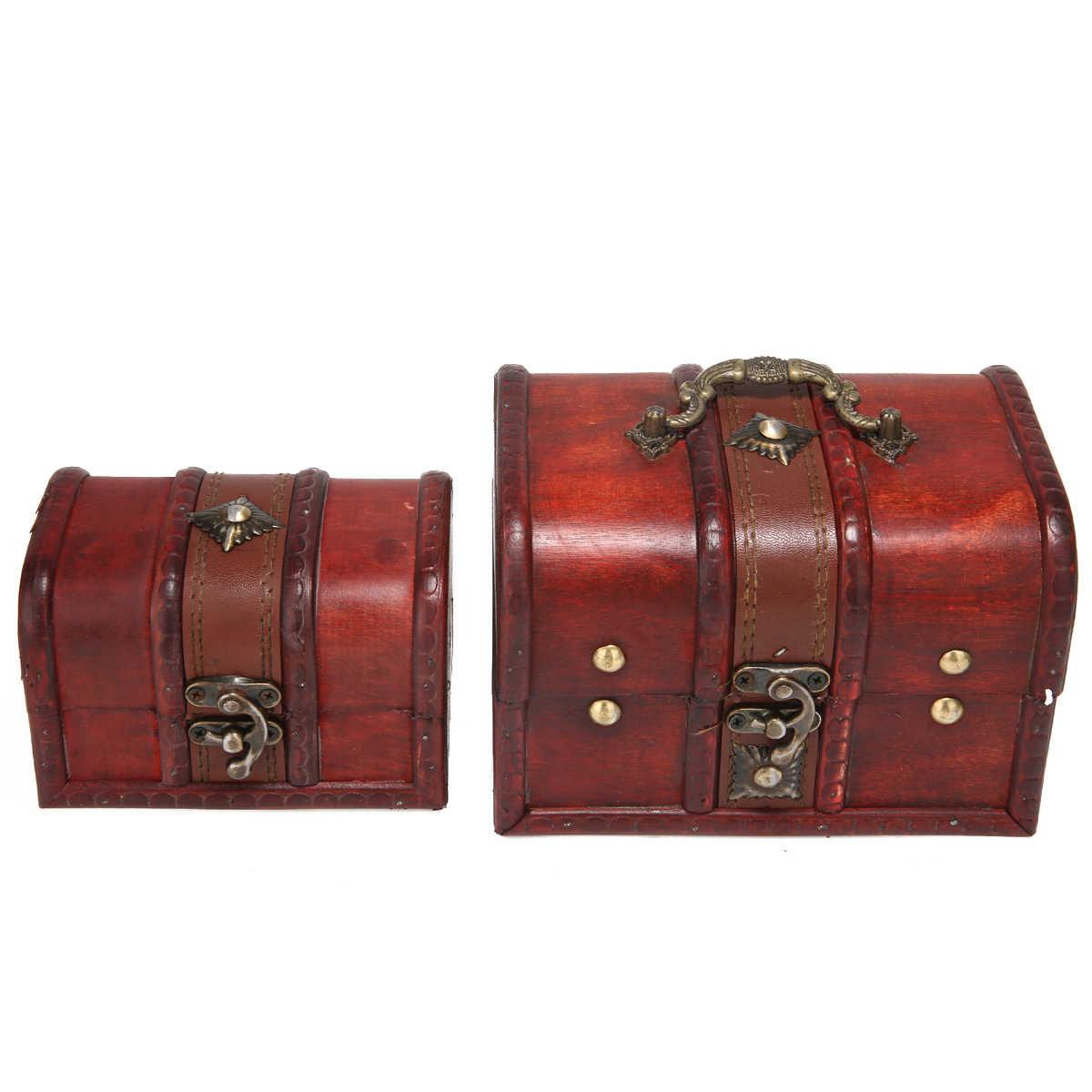 Retro Wooden Jewelry Mini Box Storage Lock Treasure Chest Wood Crate Case Holder