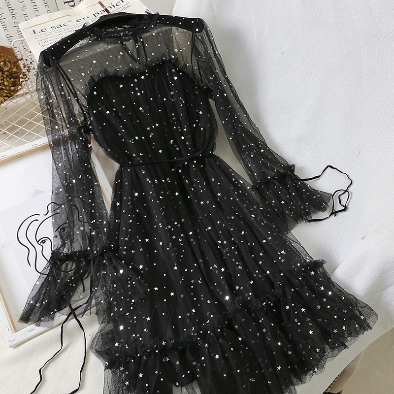 Женское платье с расклешенными рукавами на шнуровке, блестящее платье с блестками и оборками, винтажное эластичное тонкое Сетчатое платье из фатина Платья      АлиЭкспресс
