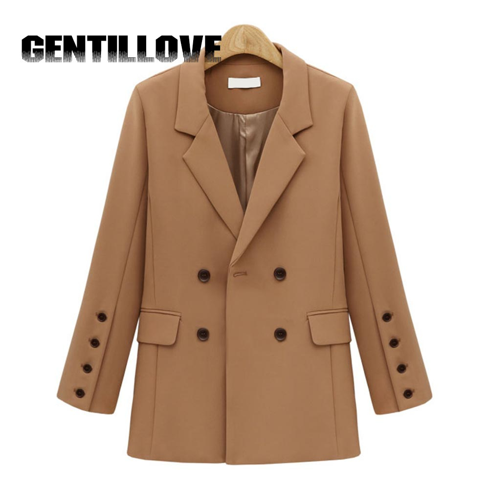 Women Autumn New 2019 England Blazer Button Double Breasted Long Sleeve Office Lady Coat Solid Female Casual Brown Outerwear