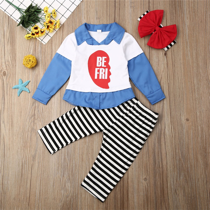 Pudcoco Autumn Toddler <font><b>Kids</b></font> Baby Girl <font><b>BEST</b></font> <font><b>FRIEND</b></font> Casual Clothes Set Long Sleeve <font><b>Shirt</b></font> Top Stripe Print Pants Outfit 2pcs image