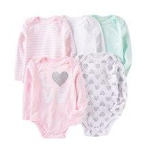 תינוק כותנה Rompers Infnat ארוך שרוול בגדי ילדים בגד גוף חמוד קריקטורה דפוס סרבל יילוד בגדי יוניסקס 0 12Months