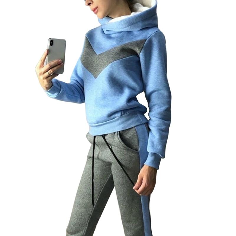 PUIMENTIUA 2019 Women Hoodies Pant Clothing Set Casual 2 Piece Set Warm Clothes Solid Tracksuit Women Set Top Pants Ladies Suit