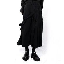 Yamamoto style men's casual pants wide leg trousers skirt pants pleated pants asymmetric dark samurai pants niche edge