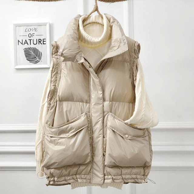 SEDUTMO 2020 Winter Duck Down Vest Women Ultra Light Oversize Waistcoat Autumn Casual  Short Pocket Jacket Slim Parkas ED1317 1