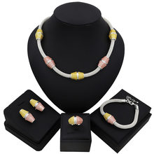 TSROUND Dubai Jewelry Set for Women Fashion Three Tones Colors Ball Pendant African Nigerian Party Jewelry(China)