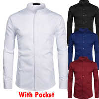 Stand Collar White Mens Dress Shirts Single Pocket Slim Fit Wedding Shirt Men Chemise Homme Solid Color Casual Button Down Shirt