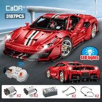 Cada 3187PCS techniczny zdalnie sterowany samochód wyścigowy Super samochodowe klocki budowlane miasto pilot sportowy pojazd cegły zabawki dla dzieci
