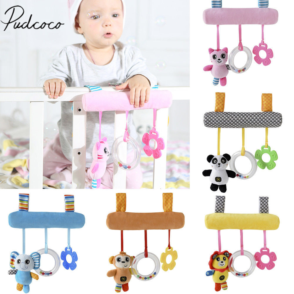Kid Baby Crib Cot Pram Bed Stroller Hanging Plush Toy Cartoon Hanging Rattles Cartoon Ring The Baby's Bed Bell