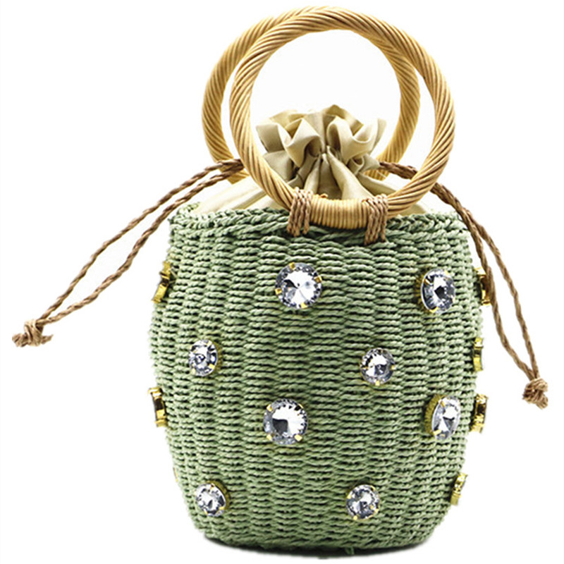 Rattan Handle Woven Women Bag 2020 New Diamond Pearl Straw Small Handbag Wild Style Women Bag Ins Rattan Shoulder Beach Bag