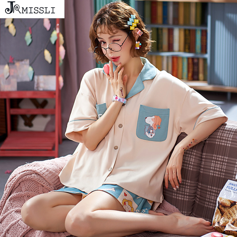 JRMISSLI Pajamas Set Women Pyjamas Sleepwear Night Suit Pyjama Mujer Home Wear Women Summer Cartoon 100% Cotton Nightwear