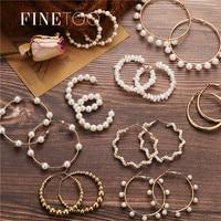 Simple plaine or couleur métal perle cerceau boucles d'oreilles mode grand cercle cerceaux déclaration boucles d'oreilles pour les femmes fête bijoux