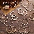 Простой золото Цвет металлические жемчужные серьги в виде колец, мода большой круг обручи серьги для женщин вечерние ювелирные изделия