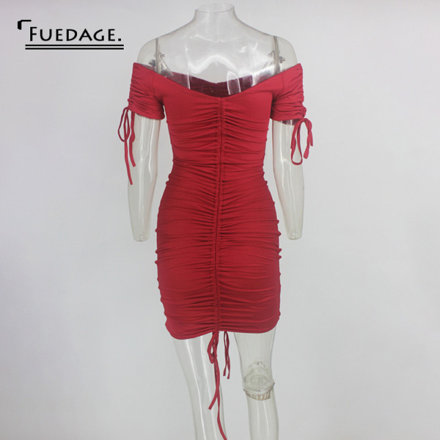 Fuedage Red Solid Ruched Drawstring Mini Dress Women Off Shoulder Sexy Backless Club Party Dress Bodycon Suchmmer Dress Vestidos 6