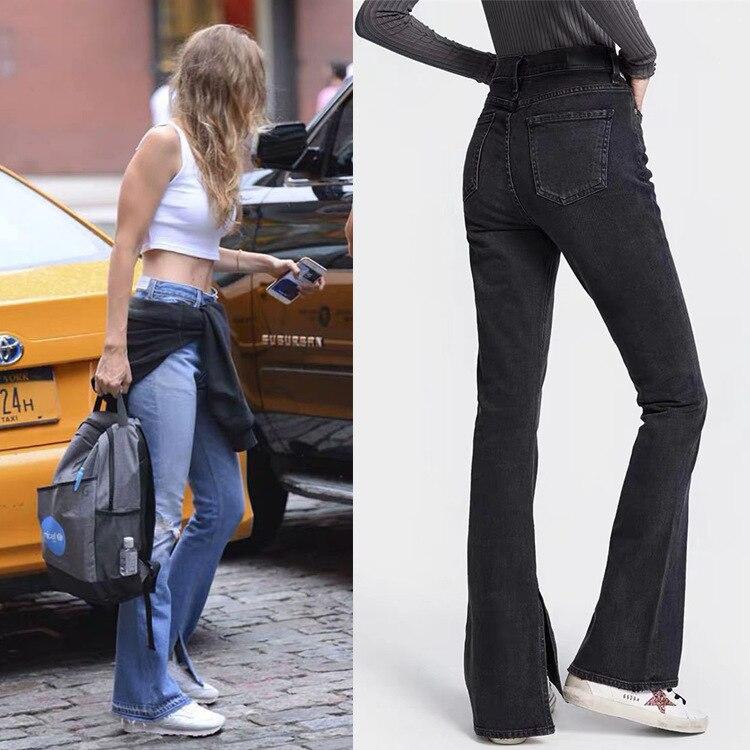 2020 Autumn Trendy Design High Waist Button Zipper Washed Vintage Split Temperament Flared Pants Women Jeans Fashion Classic