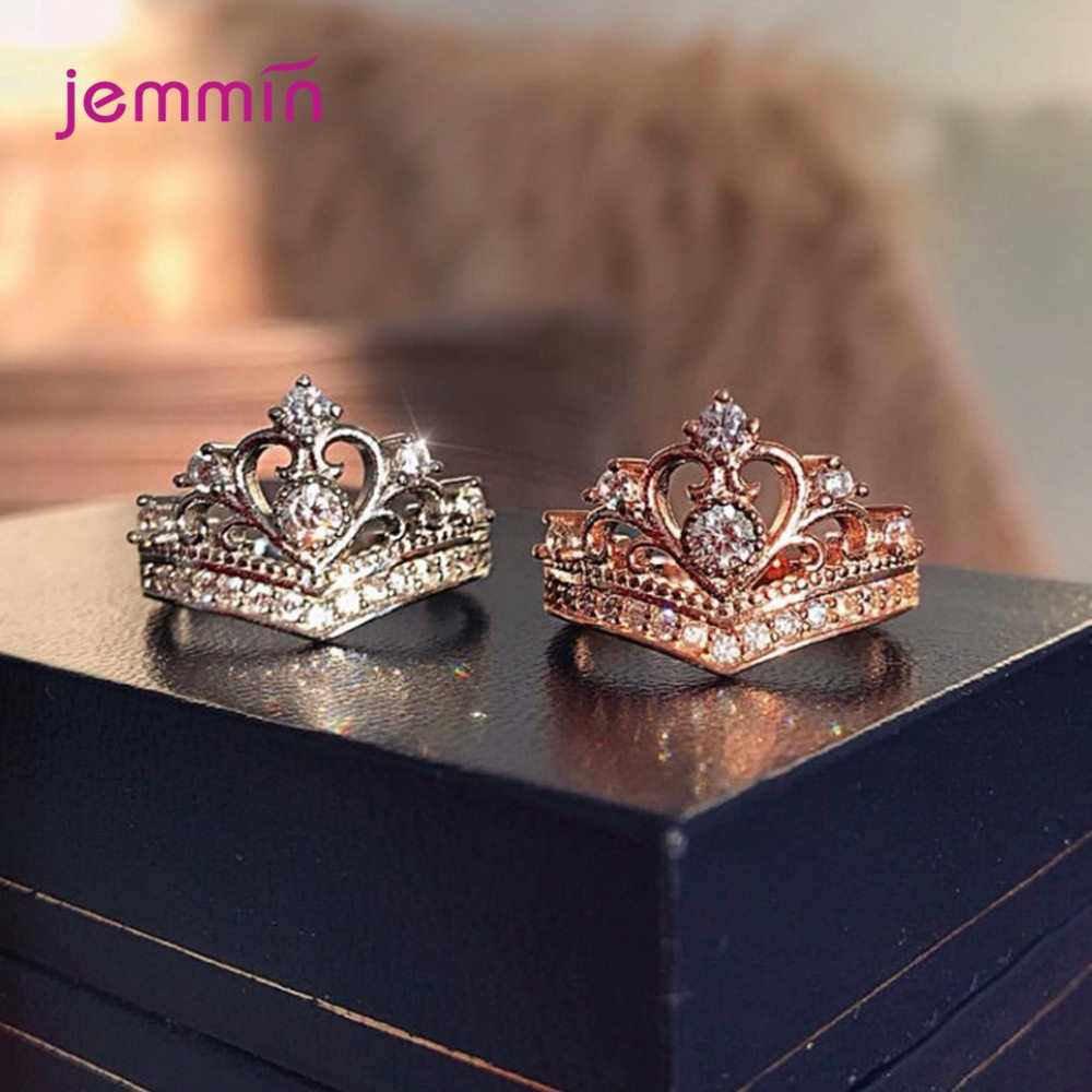 925 Sterling Silver Crown Charm Wedding Band Rings for Women Girls Wedding Engagement Party Accessories Jewelry Queen Bijoux