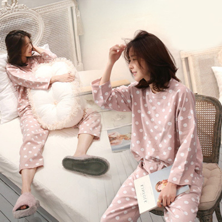 Spring And Autumn Cute Students Pajamas Female Summer Korean-style Sweet Hipster Set Long Sleeve Thin-Outer Wear Tracksuit