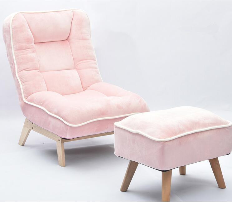 Canapé paresseux pliant individuel avec tabouret repose-pieds inclinable dossier réglable chaise longue plancher rembourré canapé chaise couleur rose