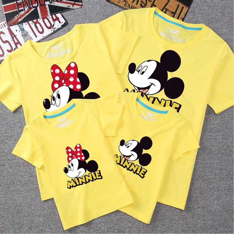 Papa  Mama Mini Mouse family matching black T-shirts and baby grow set.