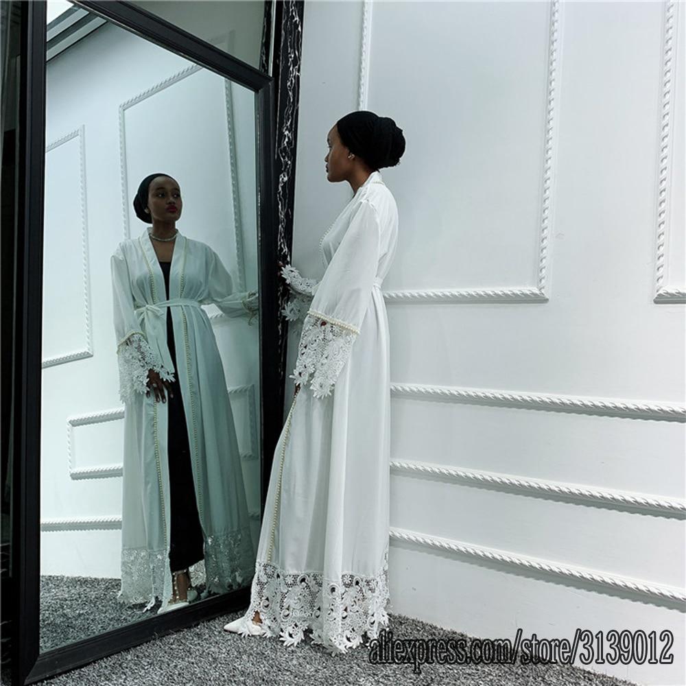 Women White Abaya Kimono Kaftan Dubai Muslim Dress Cardigan Ramadan Islamic Clothing Robe Musulmane Femme Turkey Arabes Mujer