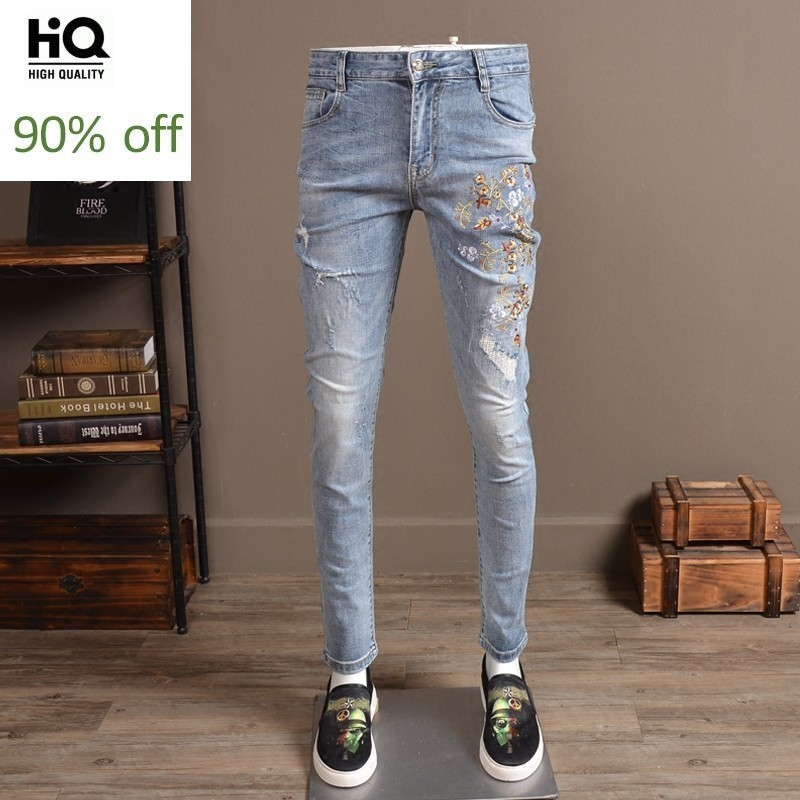 Male Fashion 2020 Spring Pencil Pants Men Full Length Slim Fit Embroidery Jeans Man Casual Streetwear Hole Ripped Jean For Mens