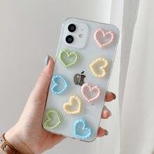 3D愛のハートグリッター透明電話ケースiphone 11 12プロ × xr xs最大7 8プラスソフトiphone 11ケース