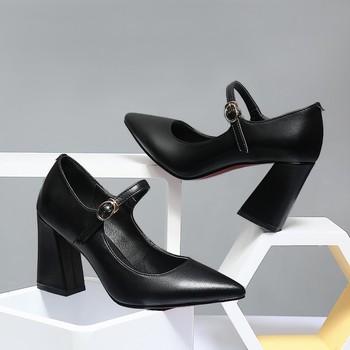 รองเท้าทำงานรองเท้าหนังแท้สายการบิน Stewardess รองเท้า Pointed Toe Chunky Heel A-สายส้นรองเท้ากลาง -ส้นรองเท้าสูง...