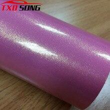 Envoltorio con purpurina de arena dorada y Rosa de calidad superior, sin burbujas de aire, pegatina para coche, color rosa, dorado, perla, purpurina